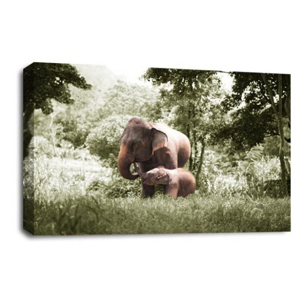 Jungle Elephants African Canvas Wall Art Picture Print